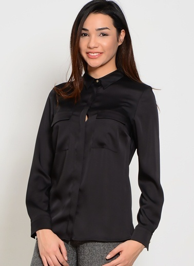 House Of Camellia Uzun Kollu Gömlek Siyah